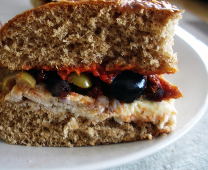 ... Omelette Sandwich, with Cheese, Sundried Tomatoes, Harissa and Olives