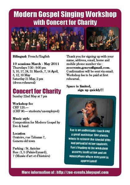 """Flyer """"Modern Gospel"""" Singing Workshop 2011"""