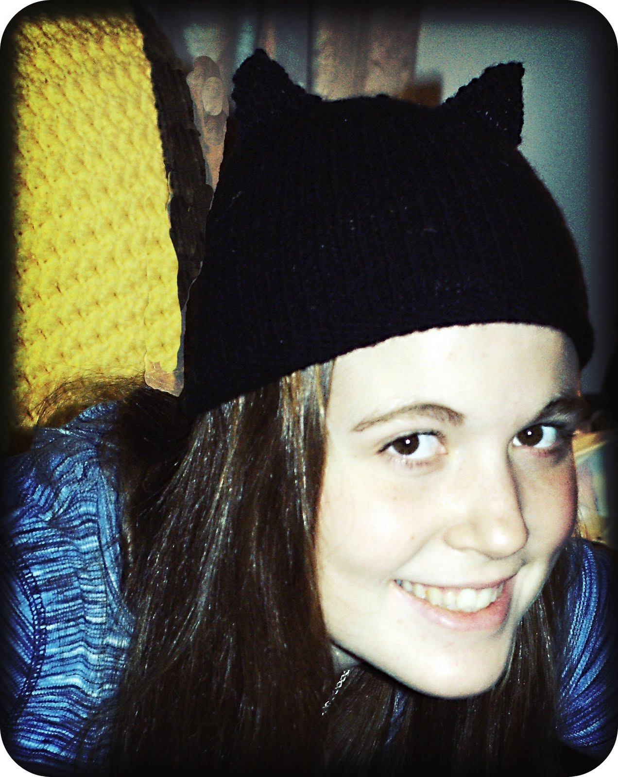 Knit Cat Ear Hat With Pattern