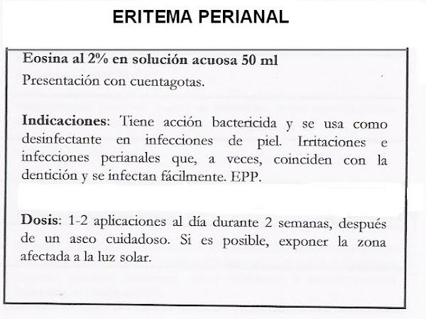 Fórmula Magistral . Solución eritema perianal.