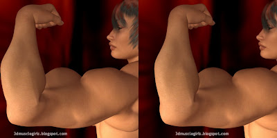 big back bicep, 3d female muscle