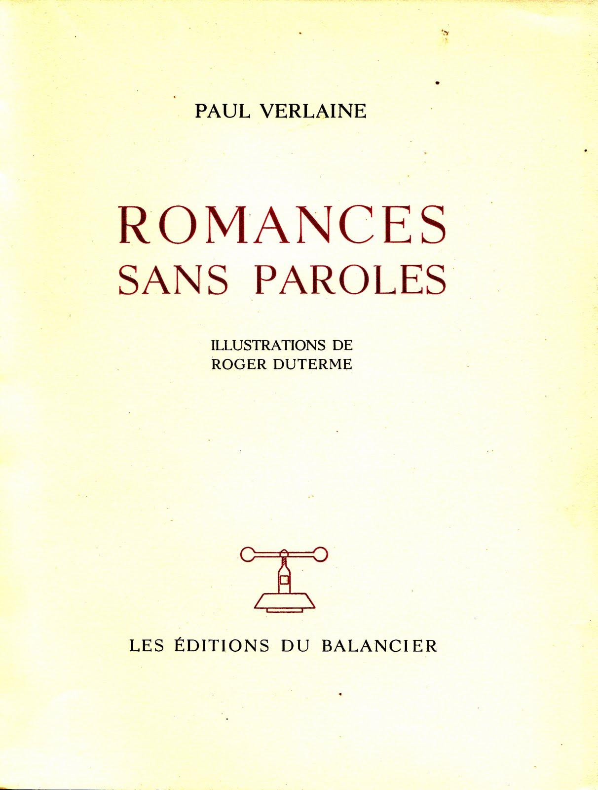 Paul verlaine 1844 1896 romances sans paroles