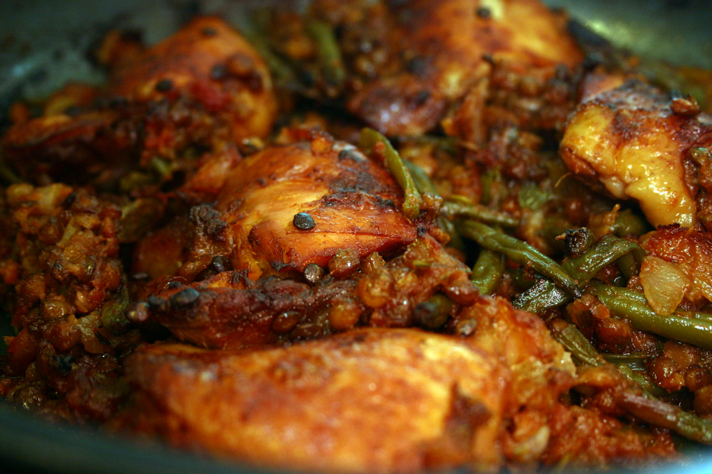 Kashmiri Chicken with Lentils and Green Beans