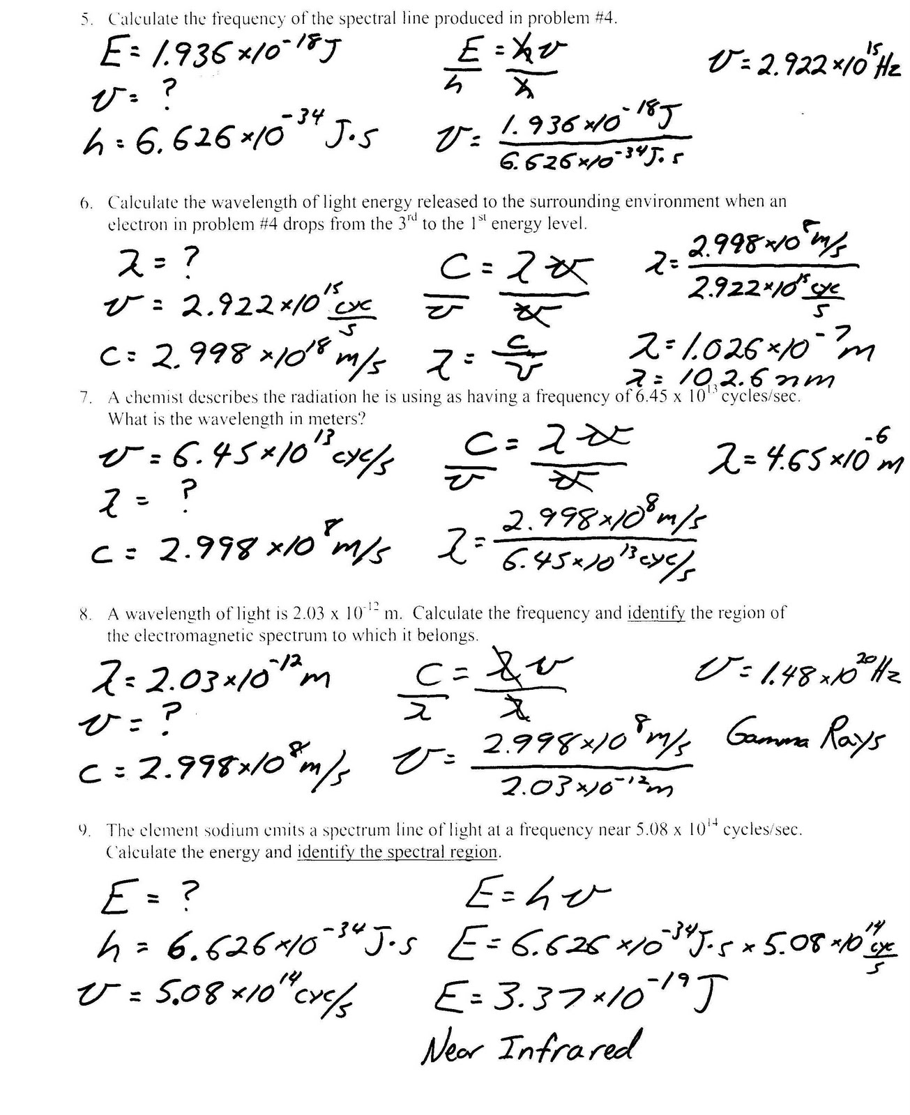 worksheet Light Worksheet heritage high school honors physical science light worksheet bohr model
