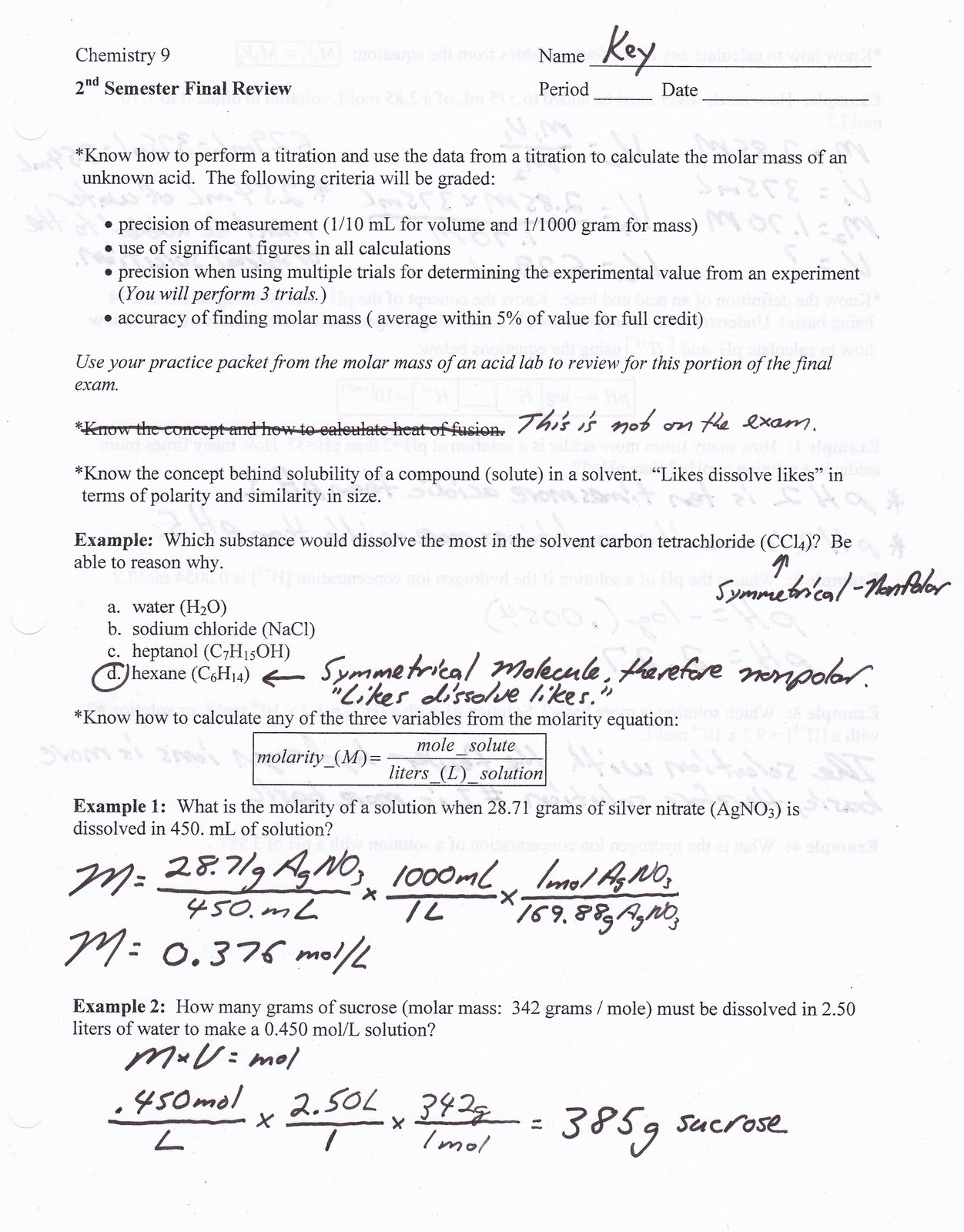 Heritage High School Honors Physical Science May 2010 – Physical Science Worksheet
