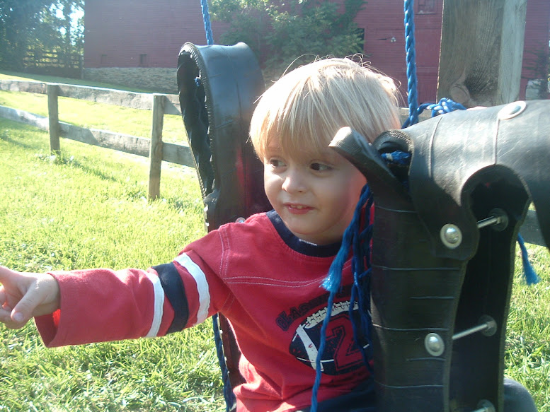 Luke takes a ride on the tire horse swing!