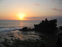 seeing a beautiful sunset in tanah lot