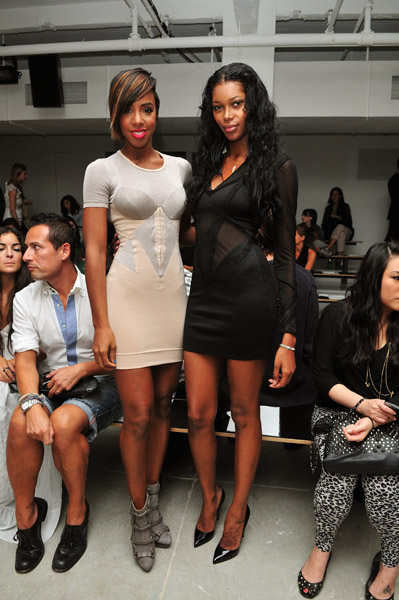 Kelly Rowland wore a nude and grey dress, first spotted on Lala ...