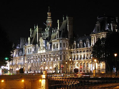 paris city hall. paris city in night