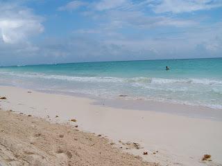 blue ocean with sand beach