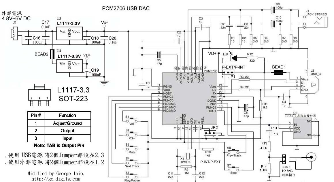 usb dac gc pcm2706 another electronics circuit Electronic Circuit Diagram Free Download Simple Electronic Projects Circuit Diagram