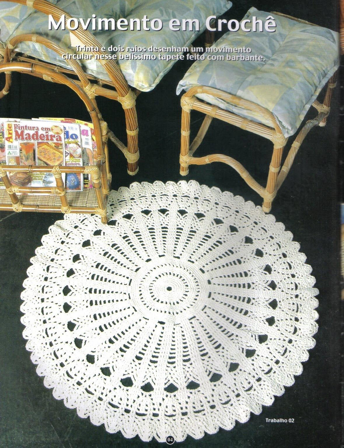 Tapetes de Crochê: Tapete redondo #966F35 1179 1532
