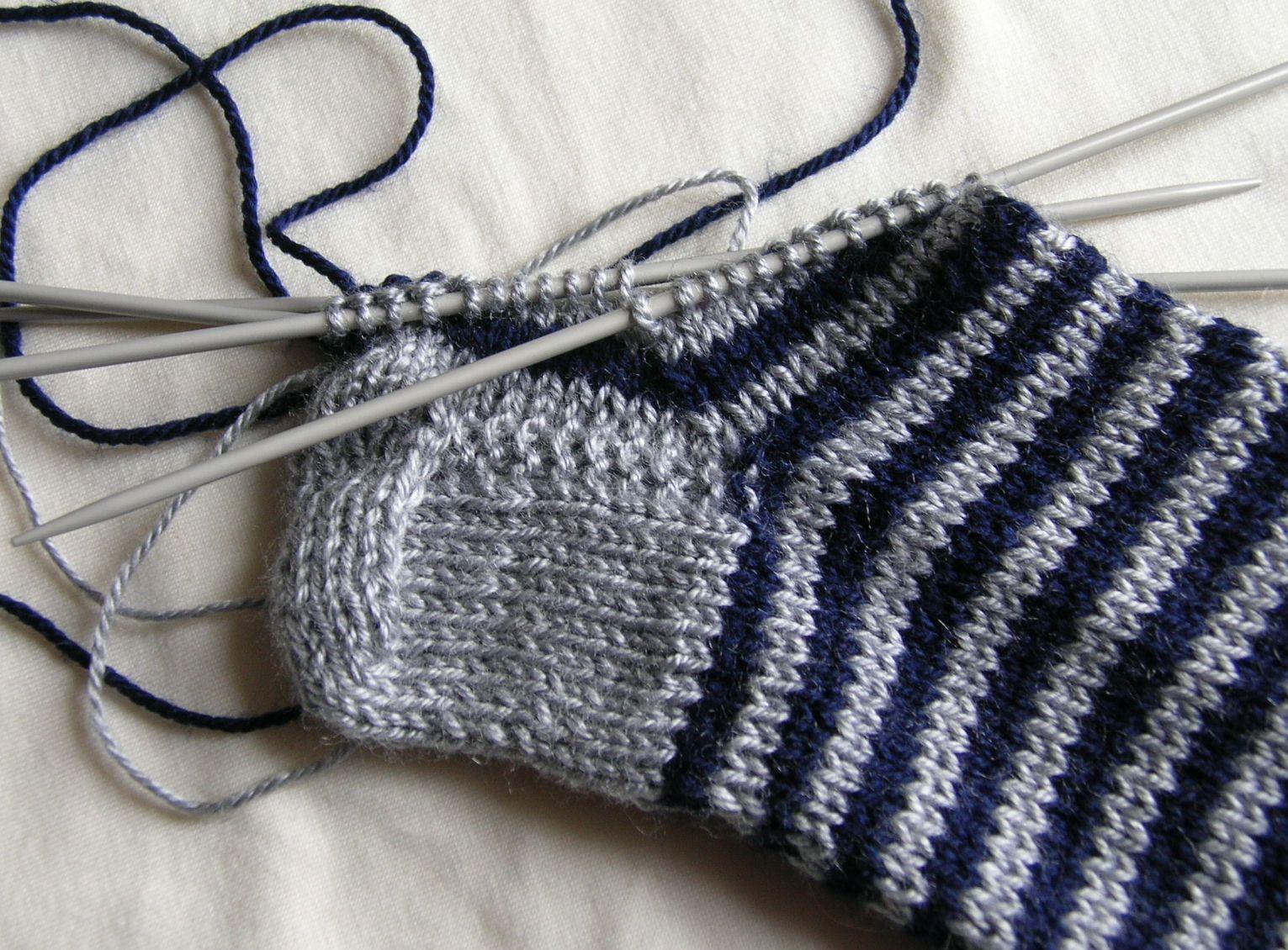 Priscila medias de lana con cinco agujas - Como hacer talon de calcetines de lana ...