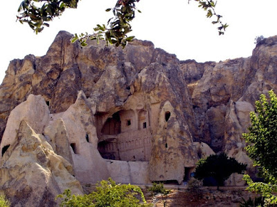 A church carved from the rock in Cappadocia