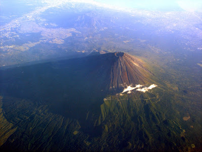 Mount Fuji view from an airplane