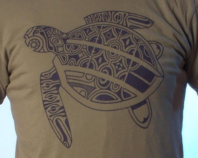 Tattoo sea Turtle T-shirt on Moss: men's