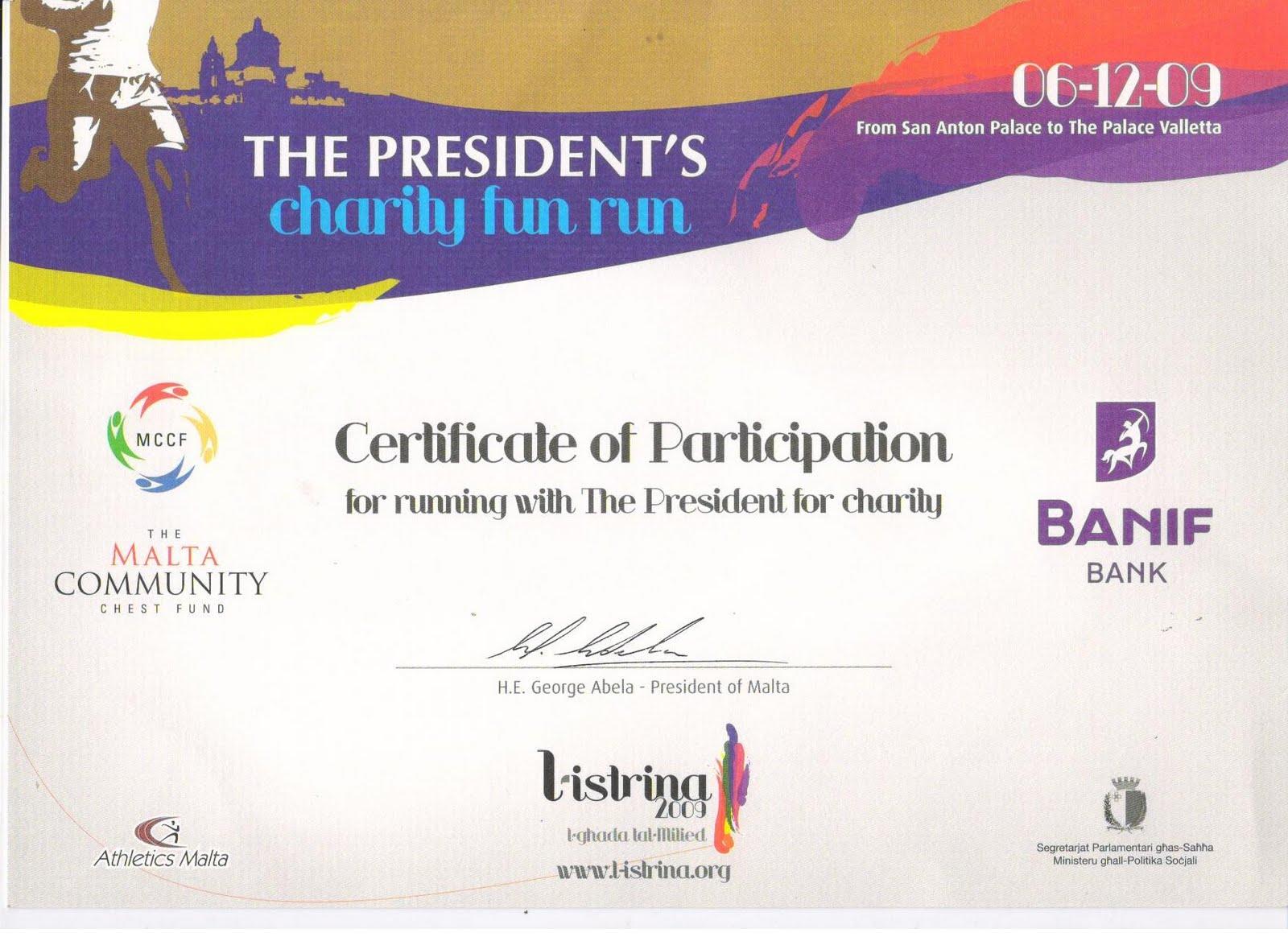 fun run certificate template - ahmadiyya muslim jamaat malta the president s charity fun run