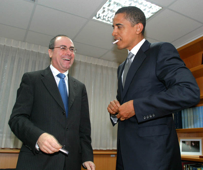 Barack Obama smoking Marlboro Reds