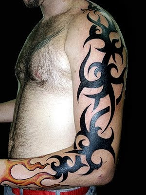 tattoo tribal sleeve and fire tattoo