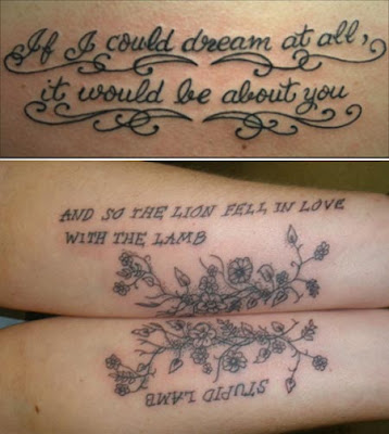lettering tattoos for girls. half sleeve tattoos for girls.