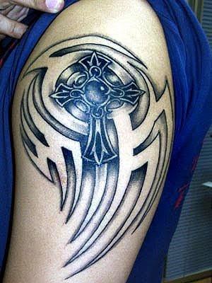 Tribal Cross Arm Tattoo