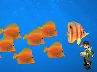 Ben Ten 10 standing tall Wallpapers in Classic Follow Fish background