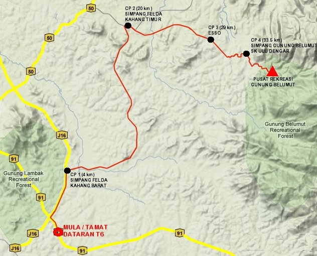Ekspedisi Berbasikal Gunung Belumut 2010 , laluan tarmac yang berbukit