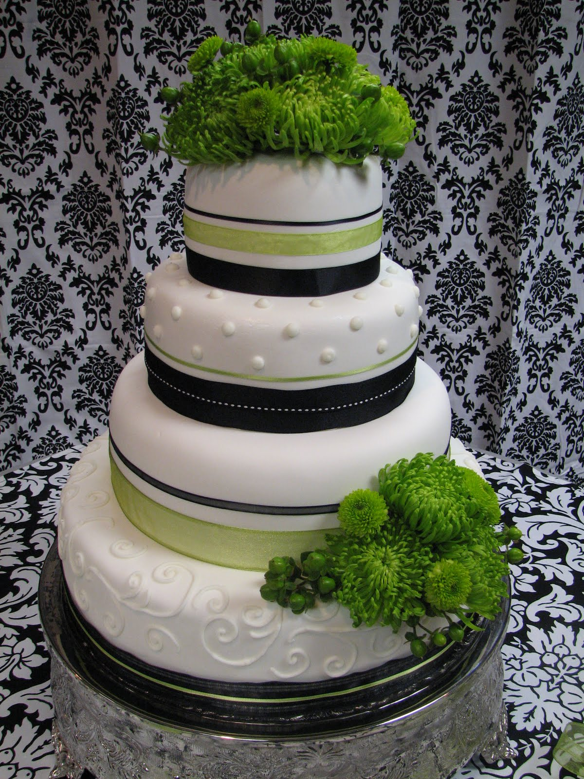 Decadent Designs Black White and Apple Green Wedding cake