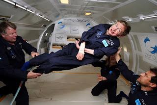 Image of Stephen Hawking Floating in Zero Gravity