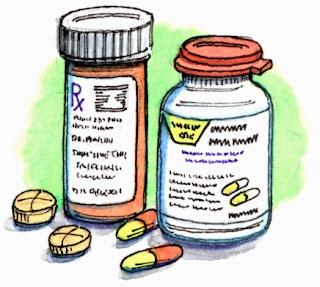 drawing of pill bottles