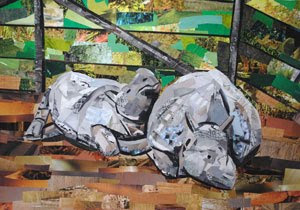 Cuddling Rhinos by Collage Artist Megan Coyle