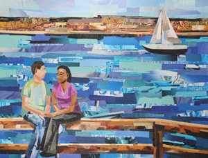 Couple by the Potomac by collage artist Megan Coyle
