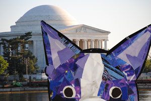 Bosty and the Jefferson Memorial by collage artist Megan Coyle