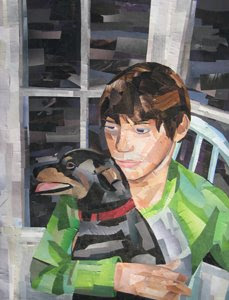 Boy with Dog by Megan Coyle