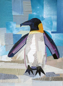 Purple Penguin by collage artist Megan Coyle