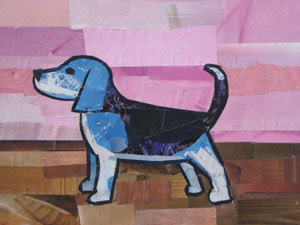 Blue Beagle by collage artist Megan Coyle