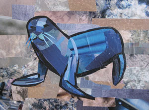 Mr Whiskers the Blue Seal by collage artist Megan Coyle