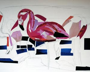 Flamingos by collage artist Megan Coyle