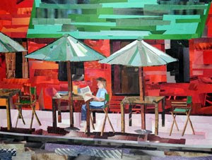 Downtown Cafe by collage artist Megan Coyle