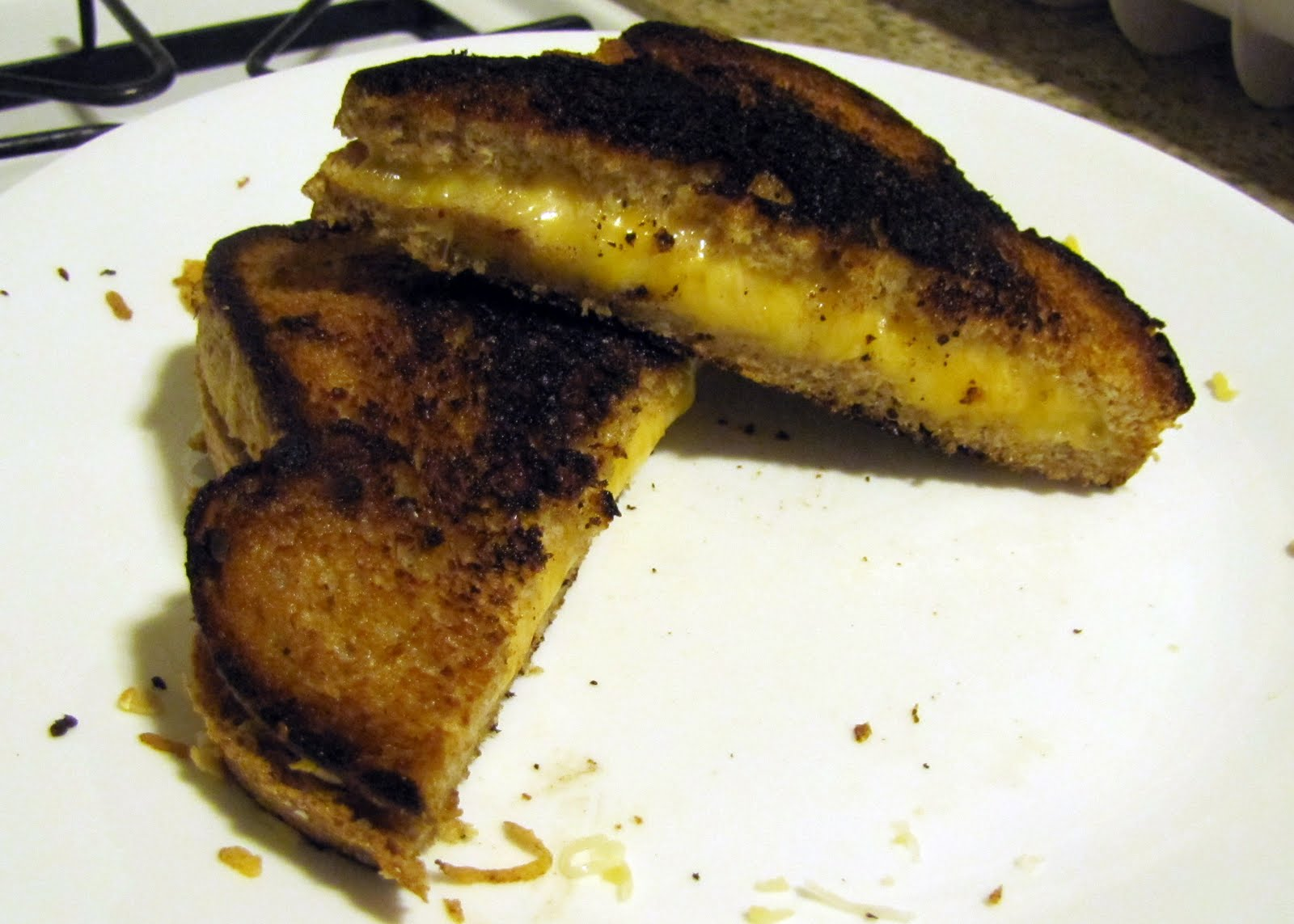 ... Food in Here: Grilled Shredded Mexican-Blend Cheese Sandwich, Burnt