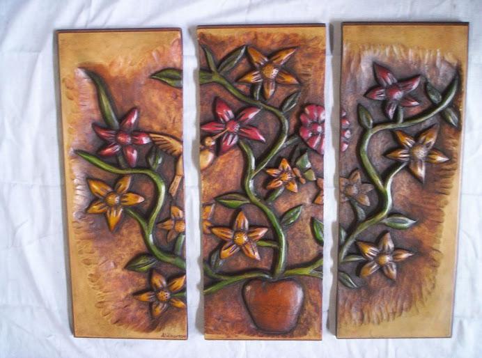 Triptico flores tallado en madera