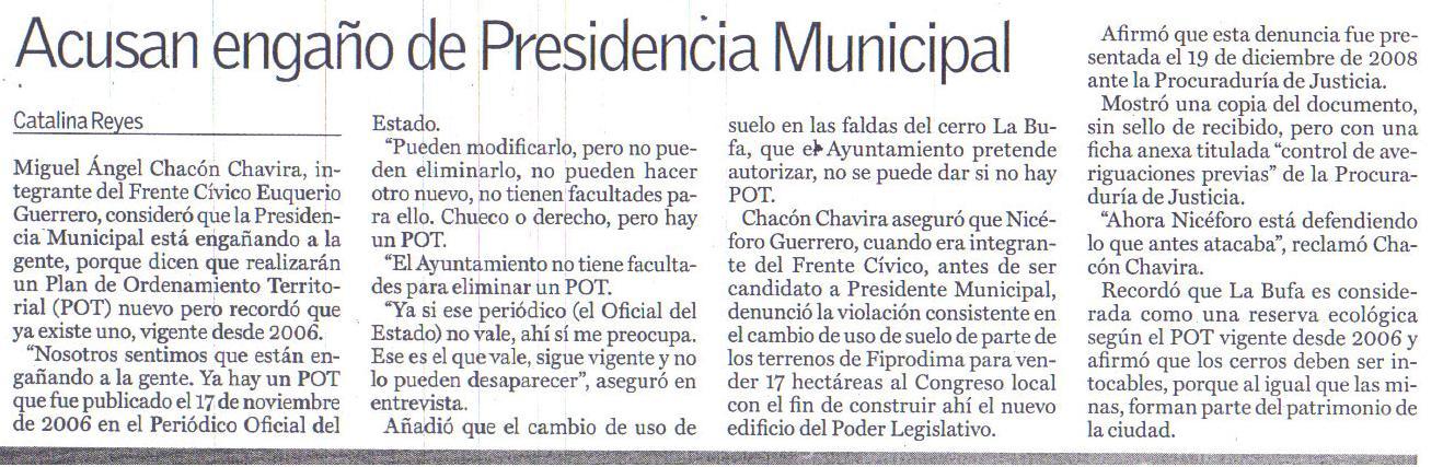 Engaña Presidencia Municipal de Guanajuato Niceforo Guerrero Reynoso