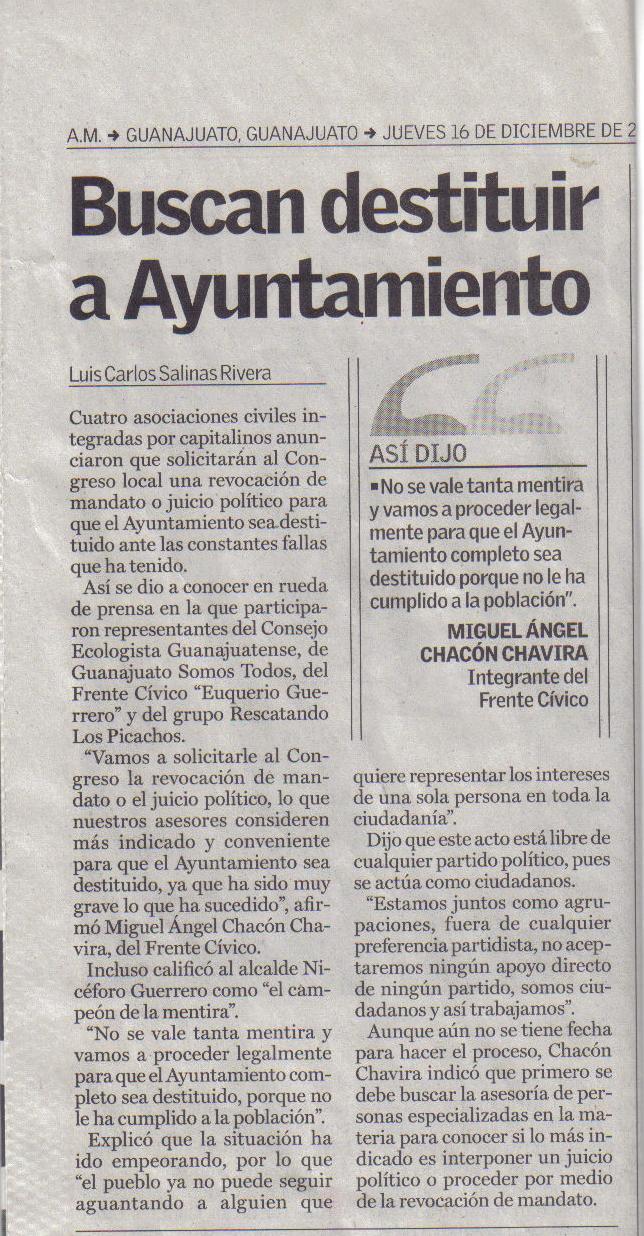 Buscan destituir al Ayuntamiento encabezado por Nicéforo Guerrero Reynoso