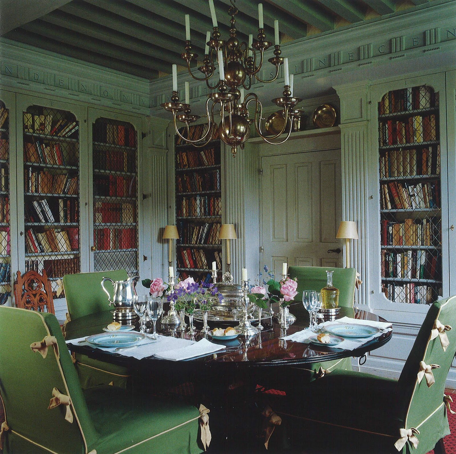 Architect design house garden for Dining room library