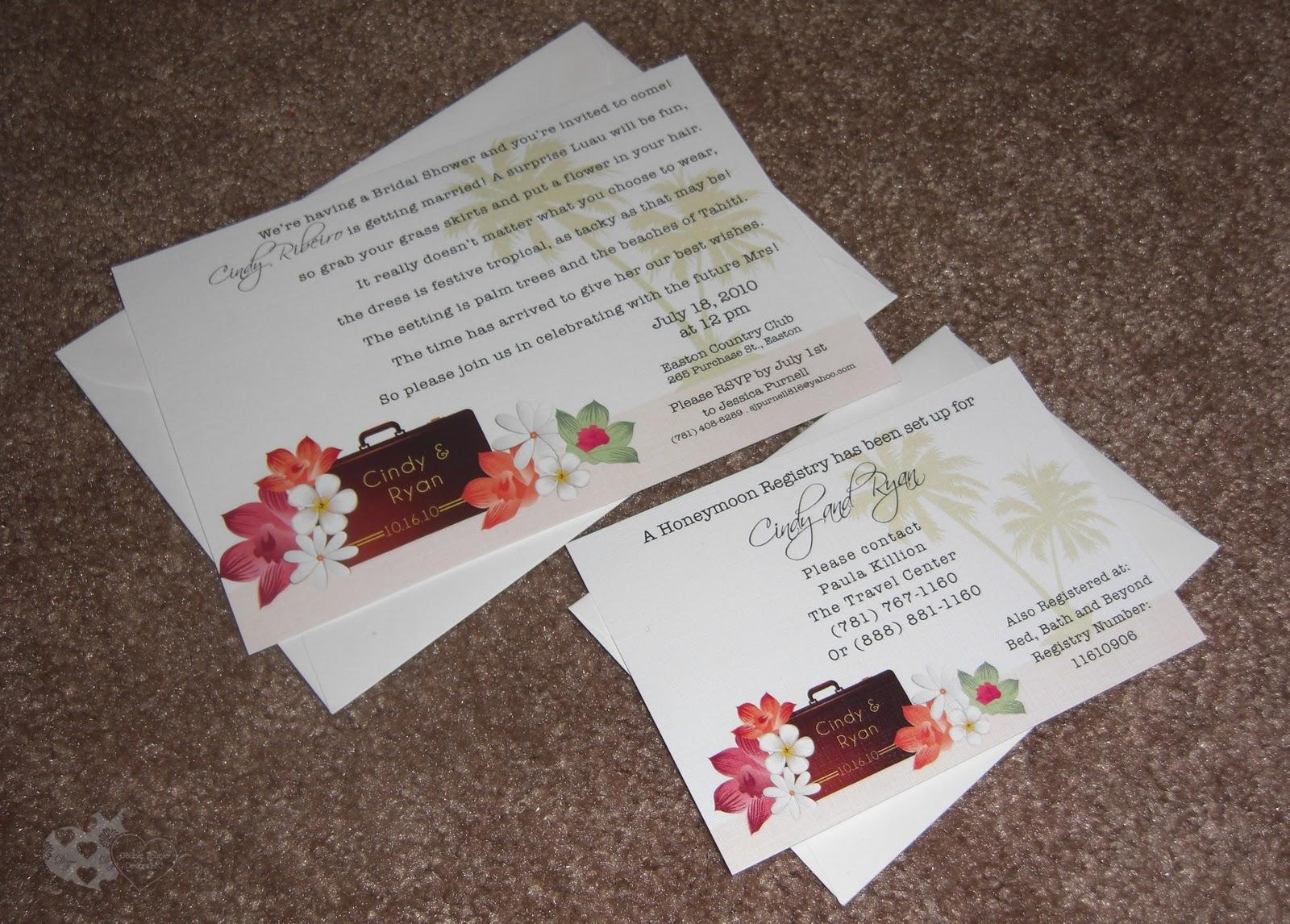 Cindy's Tropical Honeymoon Theme Bridal Shower Invite, RSVP, stickers ...