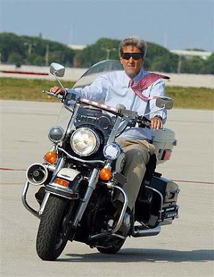 John Kerry on a motorcycle