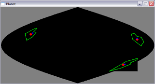 Polygons distorted near the edge of the projection.