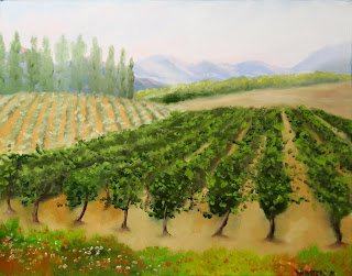Tuscan Vineyard Painting - Daily Painting Blog - Original Oil and Acrylic Artwork by Artist Mark Webster