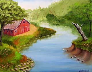 Barn in the Foothills by the River Painting - Daily Painting Blog - Original Oil and Acrylic Artwork by Artist Mark Webster