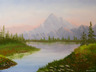 Misty Mountain Lake Pine Trees Painting - Daily Painting Blog - Original Oil and Acrylic Artwork by Artist Mark Webster